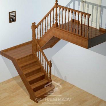 """Лестница """"Классическая"""" П-образная с площадкой"""