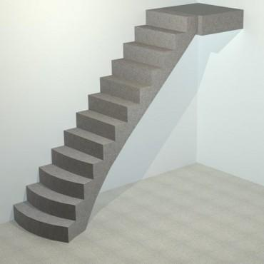 Лестница бетонная прямая криволинейная