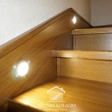 Обшивка бетонной лестницы со встроенной подсветкой, г. Павловский Посад