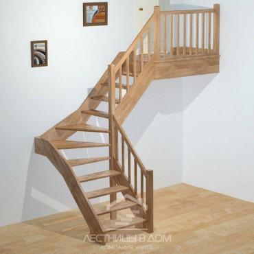 """Лестница """"эконом"""" Г-образная с забежными ступенями"""