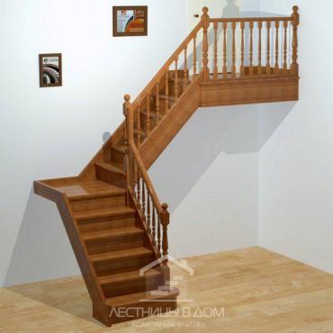 """Лестница """"Классическая"""" Г-образная с площадкой"""